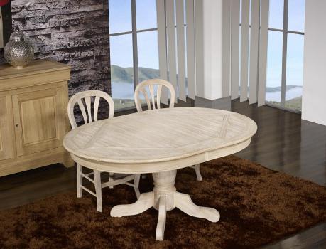 Table ovale Clément 160x120 pied central réalisé en Chêne de style Louis Philippe Finition Chêne Brossé Blanchi