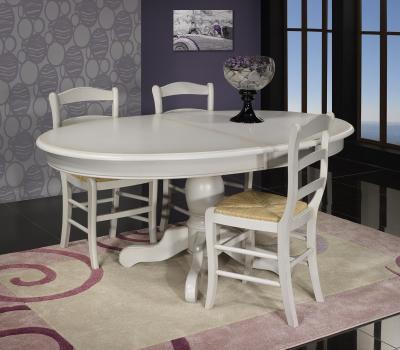 Table Ovale 135x110 pied central Delphine réalisée en Merisier Massif de style Louis Philippe Finition Gris Perle