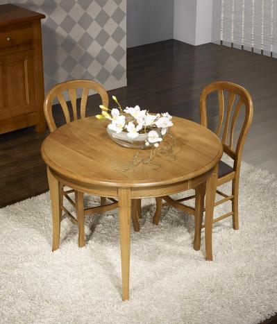 Table ronde 4 pieds -  en Chêne Massif de style Louis Philippe Diamètre 105