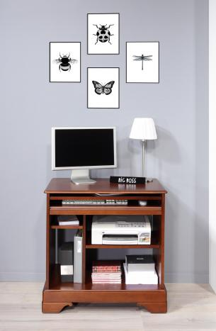 Petit bureau informatique réalisé en merisier de style louis philippe