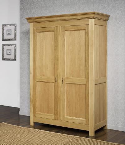 Armoire 2 portes  en Chêne Massif de style campagnard  Finition Chêne Brossé