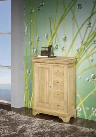 Farinier 1 porte 5 tiroirs Jean  en Chêne Massif de style Louis Philippe Finition Chêne Brossé Naturel