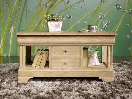 Table Basse Emmanuel réalisée en Chêne de style Louis Philippe Finition Chêne Brossé Naturel