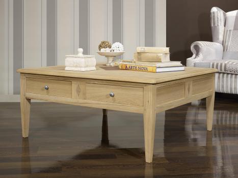 Table basse carrée Justin  em Chêne de style Directoire avec Marquetterie