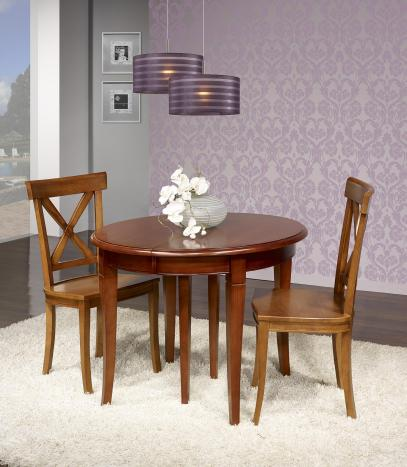 Table ronde  en Merisier Massif de sytle Louis Philippe DIAMETRE 105 + 3 allonges de 40 cm