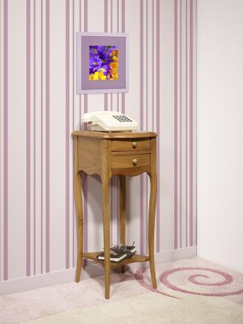 Table de téléphone 2 tiroirs Lucas réalisée en Chêne de style Louis XV
