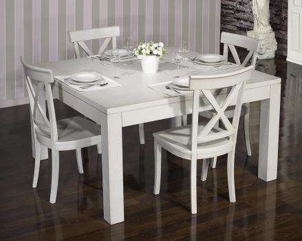Table de salle à manger 150*150 CONTEMPORAINE réalisée en Chêne Finition Chêne Brossé Gris Perle