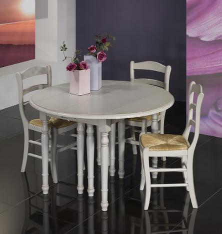 Table ronde à volets DIAMETRE 120 réalisée en merisier massif 5 allonges de 40 cm Finition Gris Perle