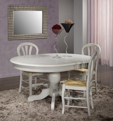 Table ovale pied central Romain réalisée en Chêne Massif de style Louis Philippe 150x110  Finition Chêne Brossé Gris Perle