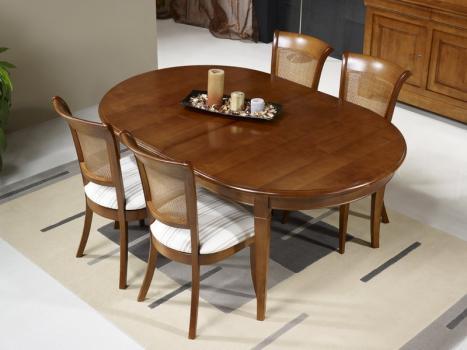 Table Ovale Nicolas, 160x120 réalisée en Merisier Massif de style Louis Philippe avec 4 ALLONGES DE 40 CM