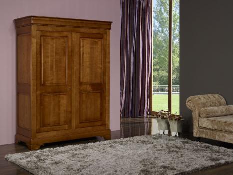 Armoire 2 portes Nicolas réalisée en Merisier Massif de style Louis Philippe