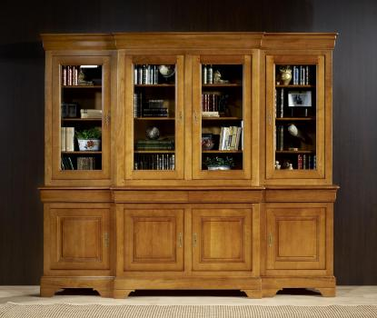 Bibliothèque 2 corps 4 portes Anne Laure réalisée en Merisier Massif de style Louis Philippe