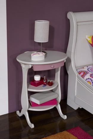 Table de nuit Caroline réalisée en Merisier Massif de style Louis Philippe Gris perle et Vieux rose