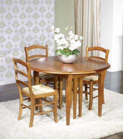Table ronde à volets Alba Diamètre 110  en merisier massif de style Louis Philippe 6 allonges de 40 cm
