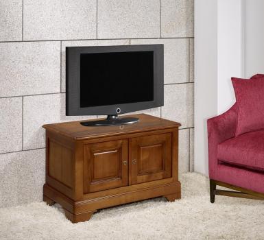 Meuble tv 2 portes maryse réalisé en merisier massif de style louis philippe
