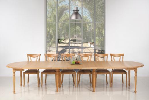 Table ronde à volets Diamètre 120  en chêne massif de style Louis Philippe 7 allonges de 40 cm