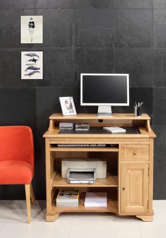 Petit Bureau informatique Emeric réalisé en Chêne de style Louis Philippe Finition Chêne naturel Surface d'écriture noire (photographies)