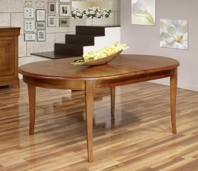 Table ovale Constance 180*120 réalisée en Merisier Massif de style Louis Philippe 2 allonges incorporées de 40 cm