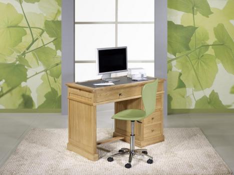 Petit bureau Luc réalisé en chêne de style Louis Philippe Surface d'écriture en moleskine noire.