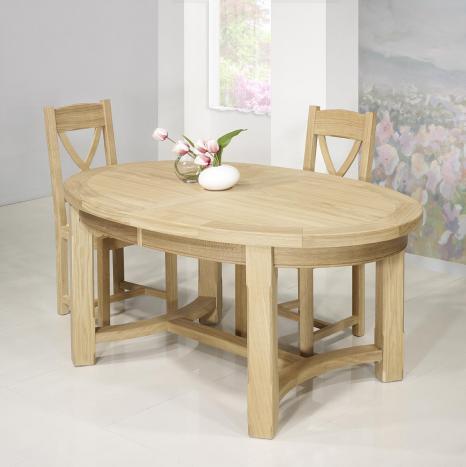Table de ferme ovale Tom  en Chêne Massif de style Campagnard 170*110