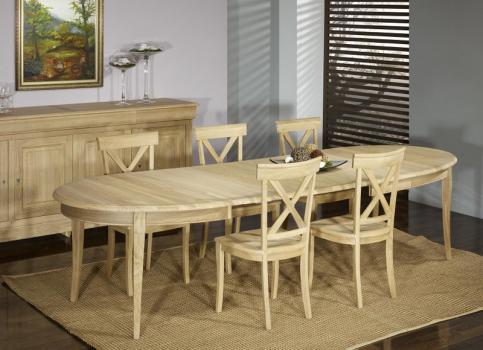 Table ovale 170*110 Mona, réalisée en Chêne Massif de style Louis Philippe 3 allonges de 40 cm Finition Chêne Brossé