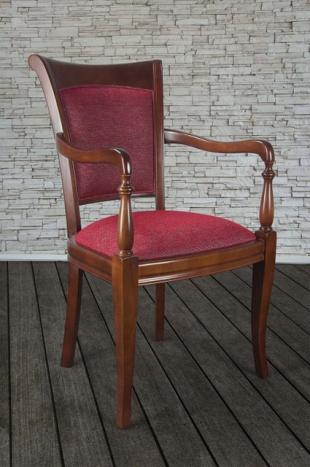Fauteuil Pauline réalisé en Merisier Massif de style Louis Philippe Tissu chiné rouge
