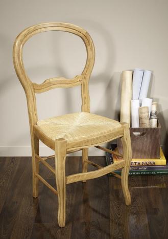 Chaise Bruno réalisée en Chêne massif de style Louis Philippe assise paille de seigle