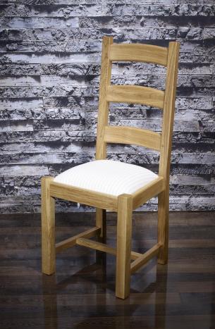 Chaise théo réalisée en chêne massif de style campagnard assise tissu