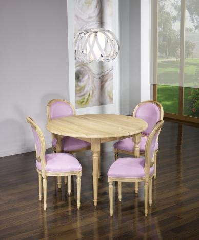 Table ronde à volets Clément, DIAMETRE 120 réalisée en Chêne Massif de style Louis XVI - 7 allonges de 40 cm Finition Chêne Brossé Naturel