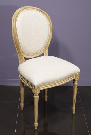 Chaise Simon réalisée en Chêne Massif de style Louis XVI Finition Chêne Brossé  Tissu façon Lin