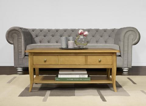 Table Basse rectangulaire Mathieu réalisée en Chêne de style Louis Philippe Longueur 100 cm