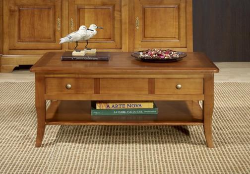 Table Basse rectangulaire Alba réalisée en merisier de style Louis Philippe