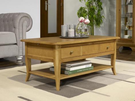 Table Basse rectangulaire Alexandre réalisée en Chêne de style Louis Philippe Longueur 85 cm