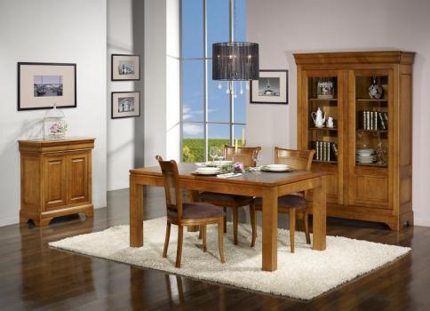 Table de repas Aurore  en Merisier Massif Contemporaine Plateau céramique Largeur 140 cm