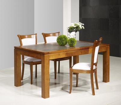 Table de repas Aurore réalisée en Merisier Massif Contemporaine Plateau céramique Largeur 140 cm