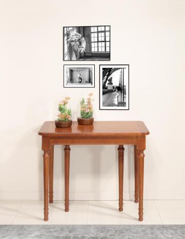 Console ou table Extensible Catherine  en Merisier de style Louis Philippe