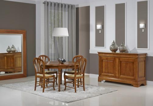 Table ronde 4 pieds tournés Audrey réalisée en merisier massif de style Louis Philippe DIAM.120 +  ALLONGES DE 40 CM