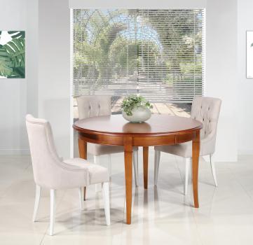 Table ronde 4 pieds sabres Camille  en merisier massif de style Louis Philippe DIAM.120 +  ALLONGES DE 40 CM