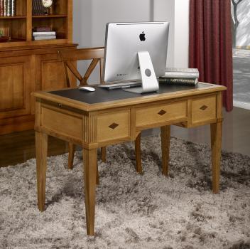 Bureau 1/2 Ministre 3 tiroirs Hervé, réalisé en Chêne de style Directoire Surface d'écriture en moleskine noire.