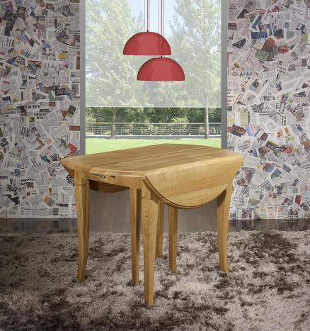Table ronde à volets réalisée en Chêne Massif de style Louis Philippe Diamètre 120 - 2 allonges de 40 cm