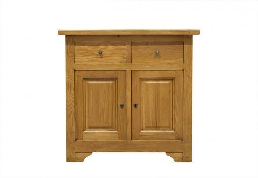 Petit buffet 2 portes 2 tiroirs réalisé en Chêne massif de style campagnard Finition Chêne doré Patine Antiquaire SEULEMENT 1 DISPONIBLE