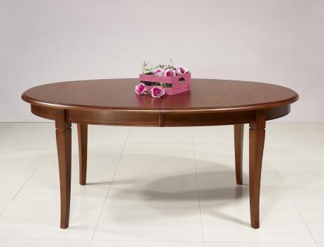 Table ovale de salle à manger Estelle réalisée en merisier massif de style Louis Philippe 5 ALLONGES DE 40 CM