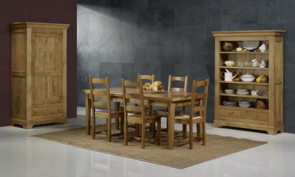 Table de Ferme Rectangulaire Francois, réalisée en Chêne massif 220*100 + 2 allonges de 45 cm