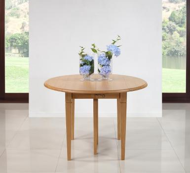 Table ronde à volets  en Chêne Massif de style Louis Philippe 6 pieds Fuseaux Diamètre 110 et 3 allonges de 40 cm