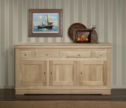Buffet 3 portes 4 tiroirs Rose Des Vents réalisé en chêne massif de style Louis Philippe Finition Chêne Brossé Naturel