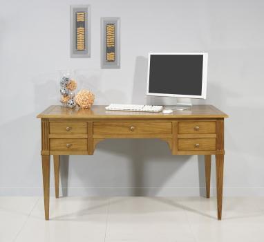 Bureau Ministre 5 tiroirs Jean-Christian, réalisé en Chêne de style Directoire Plateau Bois et Sans losanges sur les tiroirs