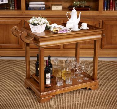 Table desserte roulante en merisier de style Louis Philippe avec 1 tiroir