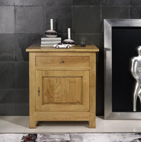 Confitutier 1 porte 1 tiroir en Chêne Massif de style campagnard 1 seul disponible
