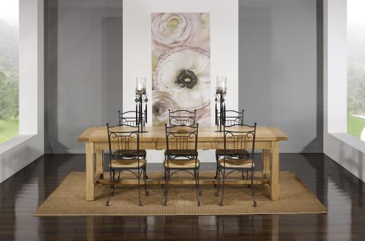 Table de Ferme Axel réalisée en Chêne Massif 250x100 + 2 allonges de 45 cm Finition Chêne Brossé
