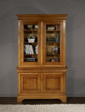 Bibliothèque 2 corps 2 portes réalisée en merisier massif de style Louis Philippe Largeur 130 cm
